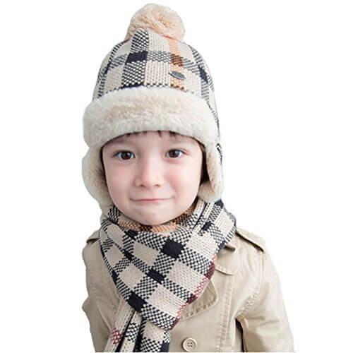 ニット帽子 マフラー 2点セット 女の子 毛糸 格子柄 ふわふわ キッズ 男の子 かわいい 防寒 秋 冬 ベビー用 ハット 小学生 男女兼用 防寒対策 ギフトに最適 (帽子&マフラー(2点)セット, グレー),子ども,帽子,