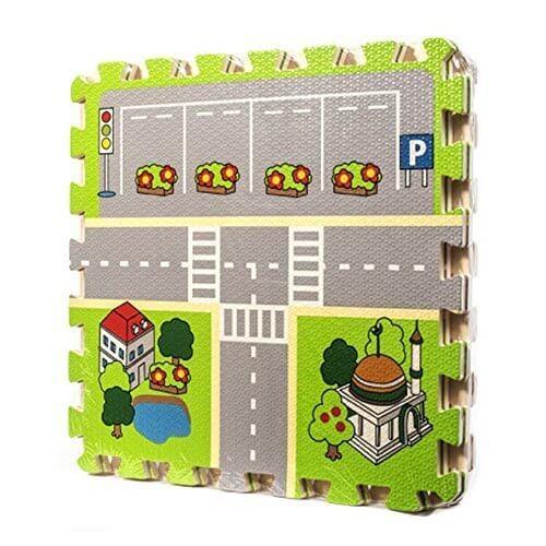 遊びマット,Meitoku キッズ パズル マット 都市道路デザイン ジョイントマット 赤ちゃん ベビー プレイマット 遊びマット 子供 フロアマット 4枚 (スタイル 2),ジョイントマット ,おしゃれ,
