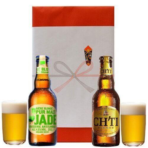 フランス直輸入ビール ブロンドタイプを飲み比べるセット(250ml×2本) ペアビアグラス付き,お酒,おすすめ,
