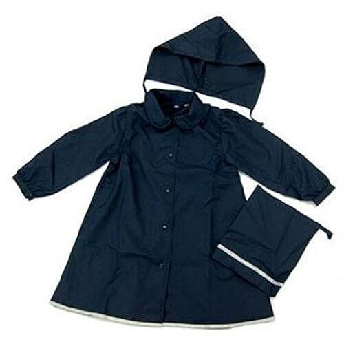 ハッピークローバー 紺色レインコート【ランドセル対応】【女の子向け】【フード・収納袋付】(130),子供,レインコート,