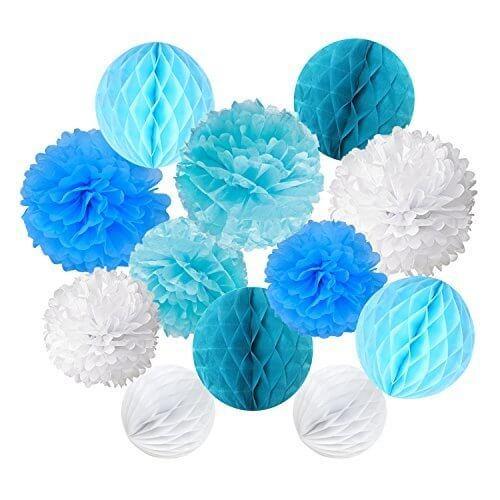Recosis ペーパーフラワー フラワーポンポン ハニカムボール 飾り付け 結婚式 誕生日 飾り付け 紙花 - ライトブルー、ブルーとホワイト,1歳誕生日,飾り付け,