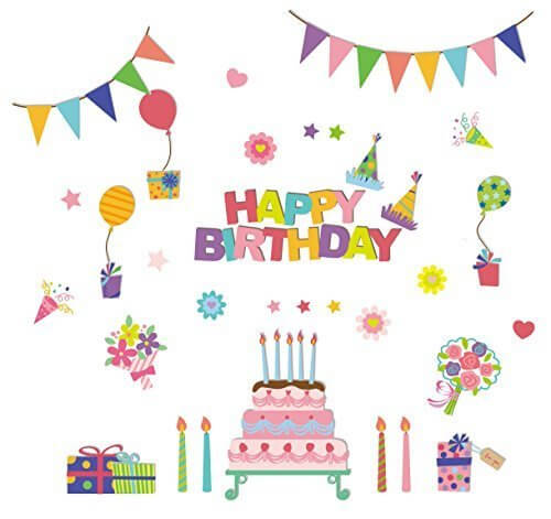 ウォールステッカーのスクウェア カラフルパーティー 60cm90cm w0172,1歳誕生日,飾り付け,