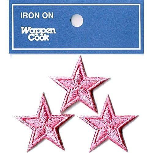 ミニ星スターワッペン 3個セット (ピンク),手作り,マスク,