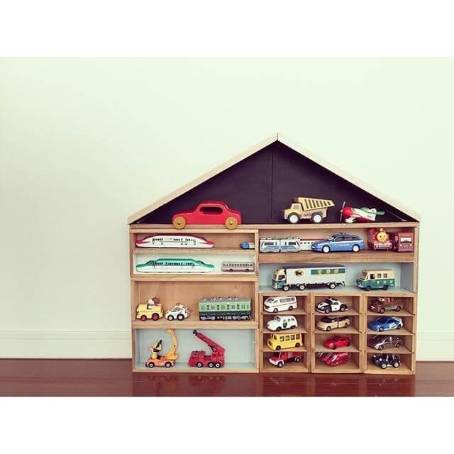 木製仕切りケース 収納例,おもちゃ,収納,100均