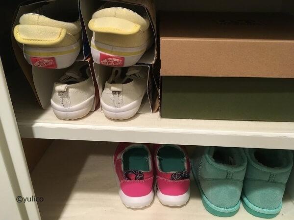 牛乳パック収納例(私物),子ども,靴,収納