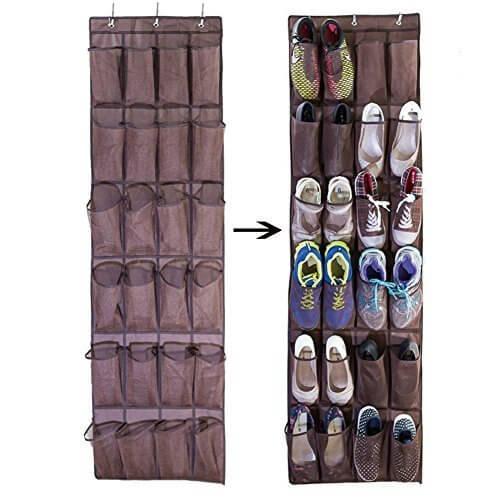 Ueasy 靴収納 ウォールポケット壁掛け式シューラック 狭い スペースで たっぷり 靴や小物の 収納に 24ポケット 6層折りたたみ 吊り下げ 収納ラック フック付き ブラウン,子ども,靴,収納