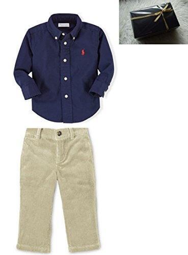 168 ギフトボックス(紺ボックス)Ralph Lauren (ラルフローレン) ベビー上下セット 18-24ヶ月コットン ツイル シャツ&カーキコーデュロイ パンツ 90cm [並行輸入品],子供服,90,