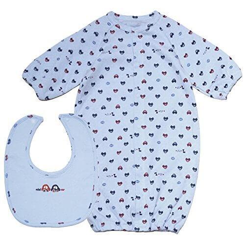 【日本製】男の子 くるま刺繍スタイ付き ドレスコンビ ツーウェイオール 車総柄プリント-サックス◇50-70cm,新生児,2WAYオール,いつまで
