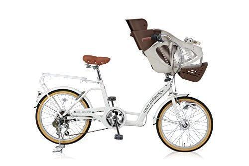 voldy(ボルディー) SHIMANO(シマノ)子供乗せ自転車 おしゃれチャイルドシート (メンズ レディース)6段変速 サイズ480mm 適応身長135cm以上 【 3人乗り 2人乗り BAA自転車 安全】 【車体 ホワイト 子供乗せイス ブラウンアイボリー】 KDL206HD,電動,ママチャリ,