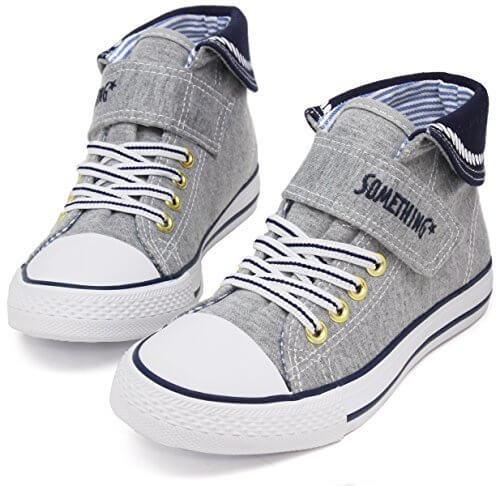 (サムシング エドウィン) SOMETHING EDWIN 子供靴 スニーカー キッズ 女の子 男の子 ジュニア SOM-3022 グレー 21.0,ハイカットスニーカー,キッズ,