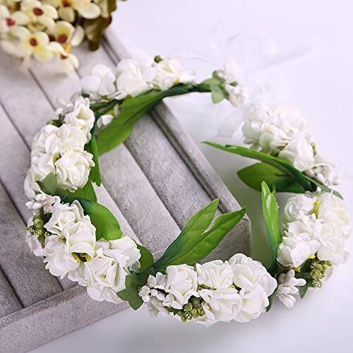 ウエディング 花冠 リストレット 2点セット! ヘッドドレス 髪飾り 花 フラワー (ホワイト),マタニティフォト,衣装,