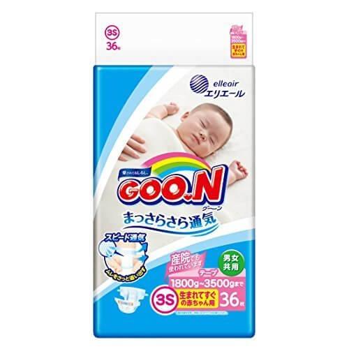 グーン テープ 新生児用小さめ (1.8~3kg) 36枚 まっさらさら通気,紙おむつ,比較,