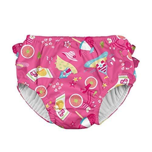 iplay アイプレイ 水遊び用パンツ ベビースイム オムツ機能付スイミングパンツ 女の子 (M:6-12ヶ月/8-10kg, HotPink Cabana),水遊びパンツ,プール,