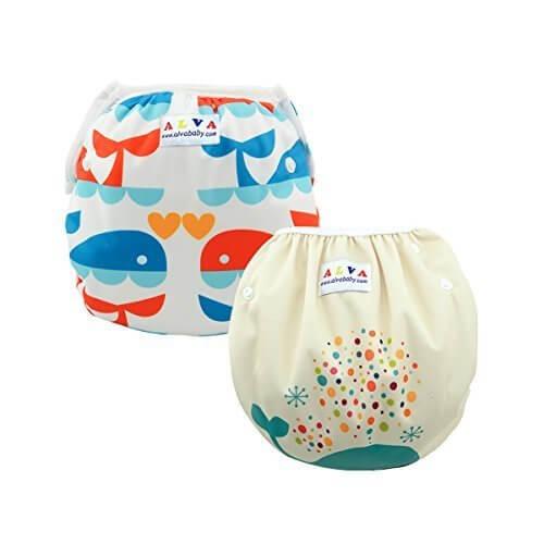 Alvaベビー 2ピースセット再利用可能なスイム布おむつ洗えてずっと使えるのでスイムパンツ SWD02-04-JP,水遊びパンツ,プール,