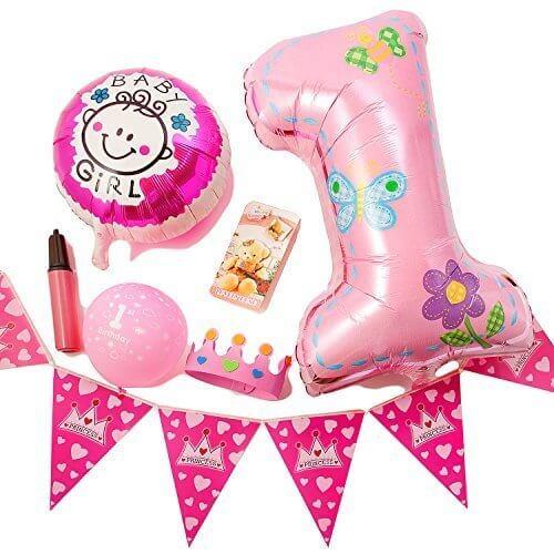 (ADOSSY) 誕生日 パーティ 誕生日会 飾り付け デコレーション 飾り 1歳 ファースト バースデー ポシェット付き (11点 セット, ピンク),1歳,誕生日,祝い
