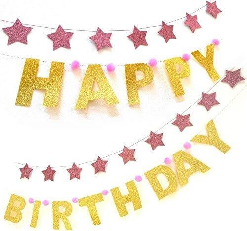 H.R.FRANCE バースデーガーランド (グリッター) 2種セット(HAPPYBIRTHDAY & 星18個) (ピンク, HAPPY BIRTHDAYと星のセット),1歳,誕生日,ケーキ