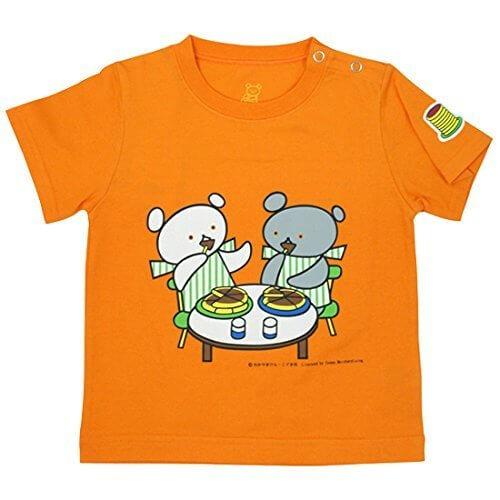 ほっとけーきいただきますTシャツ 子供服 (100,オレンジ) しろくまちゃんとこぐまちゃん 【KC-KAK-K038】,こぐまちゃん,絵本,
