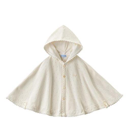 [ミキハウス] MIKIHOUSE 【ミキハウス(ベビー)】 上品な透かし編みケープ (50cm-90cm) 41-4801-789 白,赤ちゃん,ポンチョ,