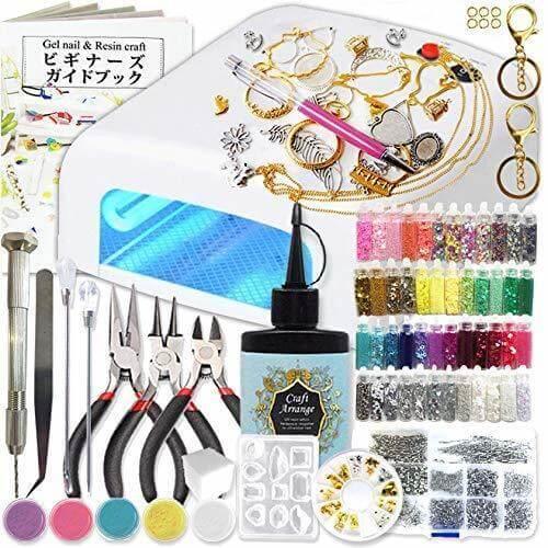 kerätä UV レジン クラフト セット 初心者のために厳選した159種類の道具とパーツで届いた日から楽しめるスターターキット (デコペンセット),手作り,ストラップ,
