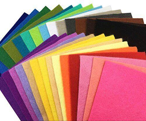 28枚 柔らかいタイプ 羊毛フェルト クラフト DIY手芸用 不織布 選べるサイズ1.4mm厚 カラフル 28色セット ( 15cm x 15cm),手作り,ストラップ,