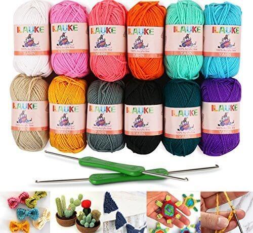 ilauke 各50g 約100m/玉 1200m アクリル毛糸 12色セット 編み針2個付き 編み糸 手編み 手作り かぎ針付き 編みぐるみ インテリア 小物作り,手作り,ストラップ,