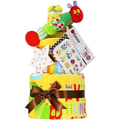 はらぺこあおむし おむつケーキ 出産祝い 名入れ刺繍 3段 Sassy ビタット Bitatto オムツケーキ 男の子 女の子 ERIC CARLE エリックカール (パンパーステープタイプSサイズ),Amazon,ベビーレジストリ,