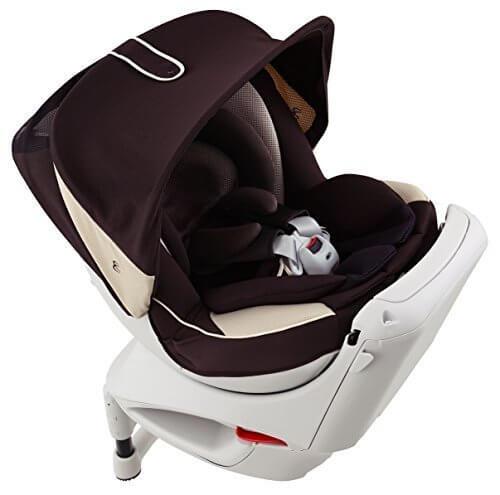 カーメイト エールベベ クルットNTプレミアムW 新生児から4歳用チャイルドシート(サンシェード付360度回転型) ブラウンオレ,チャイルドシート,赤ちゃん,おすすめ