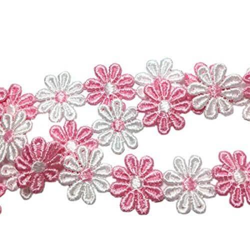 Varvena お花 の レース 6.5m レース リボン ハンドメイド 服 雑貨 に (ピンクと白),ランドセルカバー,手作り,