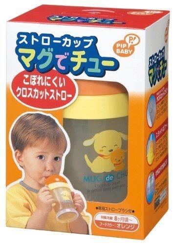 【日本製】 PIP BABY ストローカップ マグでチュー(こぼれにくいクロスカットストロー) オレンジ ※専用ストローブラシ付 【対象月齢:8ヶ月~】,ストローマグ,おすすめ,