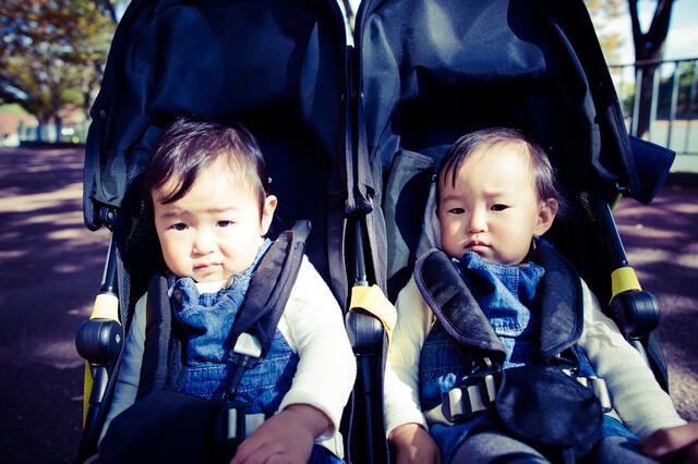 ベビーカーの双子,双子,育児,
