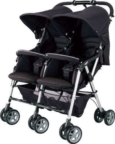 コンビ Combi ベビーカー TWINSPIN ツインスピン ブラック (1ヶ月~36ヶ月頃対象) スムーズに押しやすい二人乗りベビーカー,双子,育児,