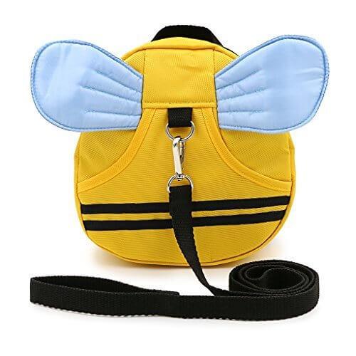 Sumnacon 迷子防止ひも リード付き リュックバッグ ぬいぐるみ 可愛いミツバチ 黄色い (ブルー羽),双子,育児,