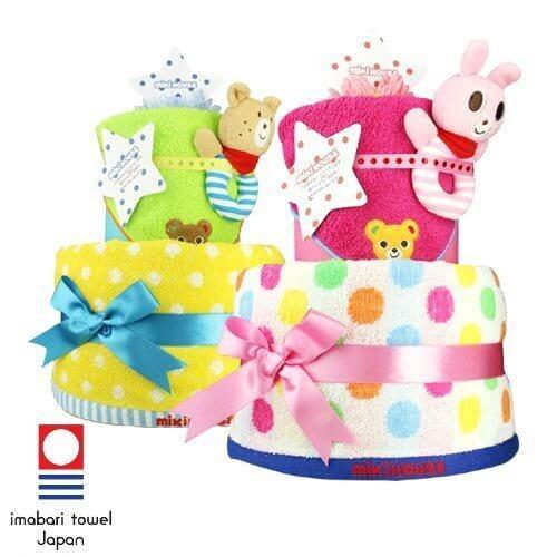 (ミキハウス)MIKIHOUSE おむつケーキ 豪華2段 ミニタオル 今治フェイスタオル ラトル付 メリーズS ピンク 女の子 [ 出産祝い ],出産祝い,女の子,