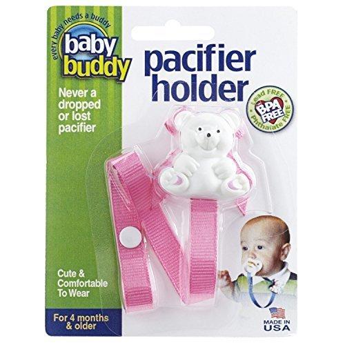 Baby Buddy(ベビーバディ) Baby Buddy ベビー バディ Bear Pacifier Holder ホワイトベア マルチ クリップ(シングル) 【アメリカ製】 Pink ピンク,おしゃぶりホルダー,