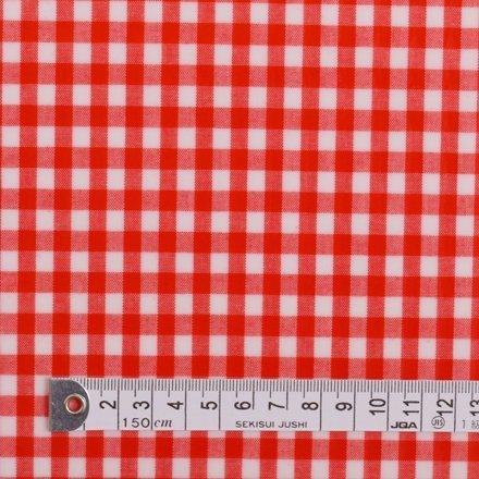 50cm(数量:5) から、10cm単位でカットいたします。商用利用OK チェック大・赤(綿ポリ) ラミネート(厚み0.2mm) 生地 ハンドメイド 手作り用生地 商用利用可能 表示価格は10cmあたりの価格です。 T0209S00,おしりふき,ポーチ,