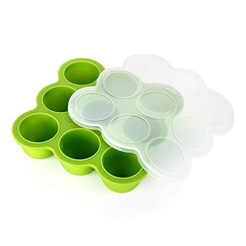 ベビーフードコンテナ, GVDV 離乳食保存容器 シリコントレー フリージング 製氷皿 フタ付き 冷凍 小分け FDA認証 3段9個 (グリーン),離乳食,梨,