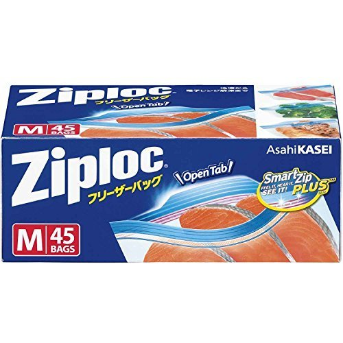ジップロック フリーザーバッグ Mサイズ 45枚入 ジッパー付き保存袋 冷凍・解凍用 (縦18.9cm×横17.7cm),離乳食,うどん,中期