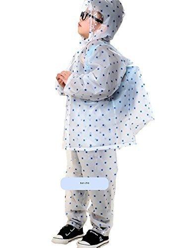 アールソウ rr*sou カッパ 雨具 子供 ランドセル 対応 自転車 上下 男の子 女の子 (L(145~160), 青(星)),幼児,レインコート,