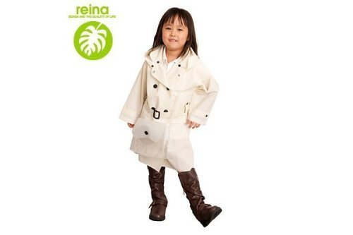 『Reina』 トレンチコートタイプ キッズ 防水レインコート☆アイボリー,幼児,レインコート,