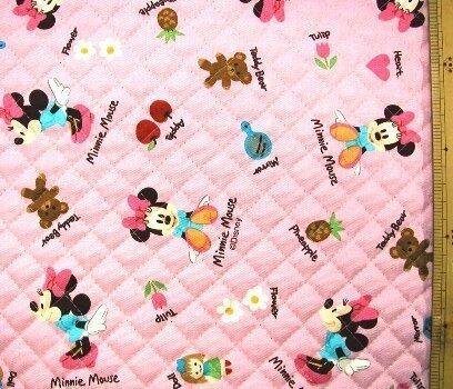 <Qキャラクター・キルティング生地>ミニーマウス(ピンク)7ディズニー,手作り,リュック,