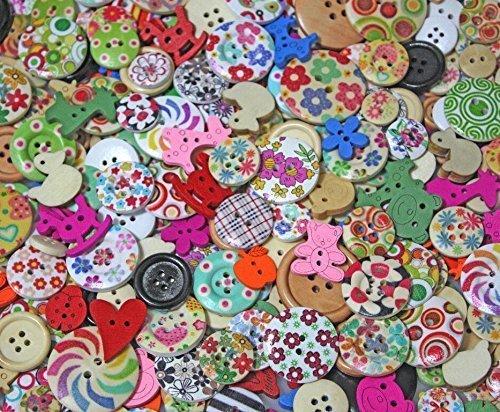 まとめ買い ウッド ボタン 1000 種類 以上 手芸 ハンドメイド ワンポイント カラー 絵柄 これだけあれば セット (100個),手作り,ヘアゴム,