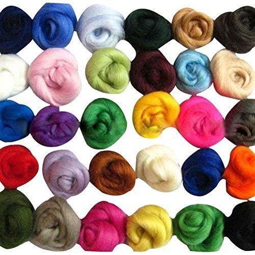 SOLEDI® 羊毛フェルト 羊毛繊維 ロービング ウール 36色セット,手作り,ヘアゴム,