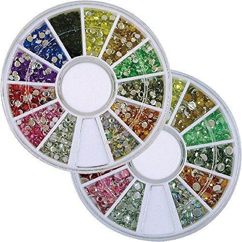 カラーラインストーン ネイル デコ用 ラウンドケース入 12色 2個/セット 2mm&3mm,手作り,ヘアゴム,