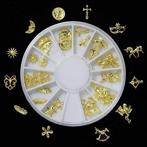 ミニチュアチャーム ラウンドケース入り ゴールド(12種類×2個)24個セット ver.2,手作り,ヘアゴム,