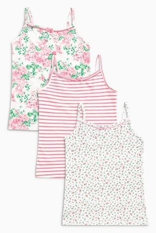 ピンク - フローラル タンクトップ 3 枚パック,子ども,肌着,おすすめ