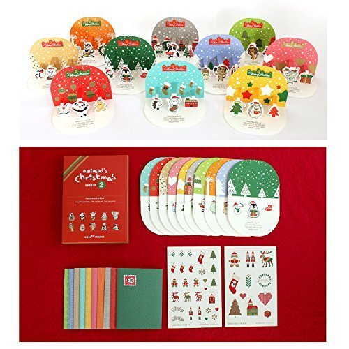 アウトレット / ポップアップ クリスマスカード / オーナメント クリスマス カード キット 10種 セット / シール付き,手作り,カード,