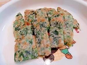 【離乳食】納豆とほうれん草の手づかみお好み焼き,離乳食,お好み焼き,