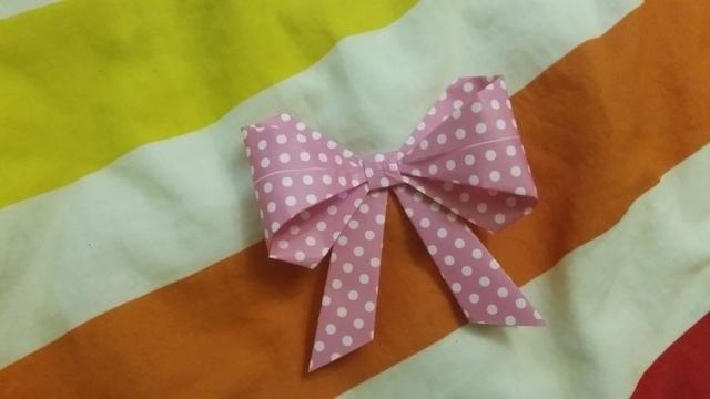 折り紙リボン折り方16,折り紙,リボン,