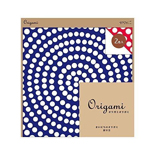 ミドリ オリガミ<15角> サークルドット柄 34392006,折り紙,リボン,