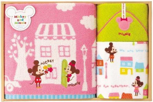 UCHINO Disney ギフトコレクション ストーリータウン (バスタオル・フェイスタオル・タオルハンカチ) ピンク WR40179 P,出産祝い,タオル,